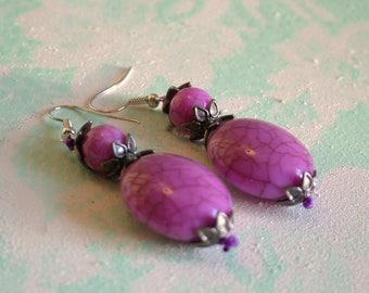 Purple Acrylic Dangle Earrings