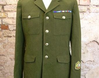 Green Army Coat, Vtg Military Jacket, British Uniform 44 inch chest