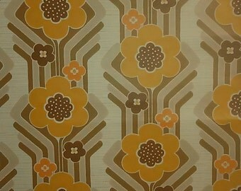 French 70 s/paper painted flowers orange/Vintage french pop wallpaper/Vintage orange