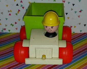 Vintage 1970s Fisher Price Pull Toy Jiffy Dump Truck
