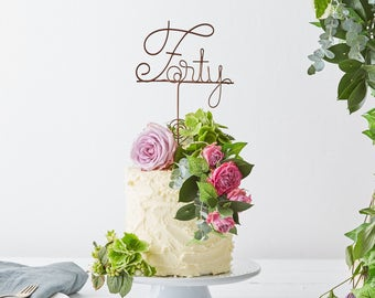 Forty Cake Topper, 40th Birthday, 40th cake topper - 40 cake topper - 40th birthday cake, birthday cake topper, cake toppers, turning 40