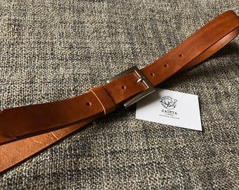 Leather Belt 'SQ Milan' 'Brandy' - KasetaLeather