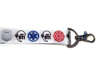 Emergency Responders Lanyard Keychain, Police, Firefighters, EMS, 911 Dispatchers, Gift For Her, Gift For Him, Firefighter Gift, EMT