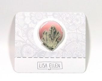 Opal Crystal Pin, Handmade, Lapel Pin, Brooch, Pin
