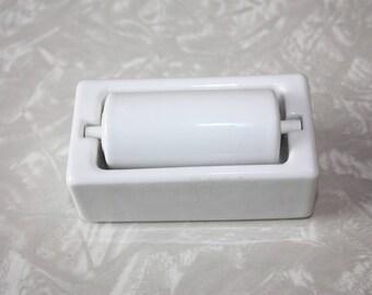 Vintage White Stamp Moistener Dispenser, La Belle, New Jersey