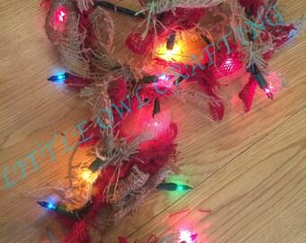 Christmas garland, lights garland, christmas decor, garland
