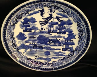 """Blue Willow Transferware Wall Plate/Blue Willow Marked Plate 10"""""""
