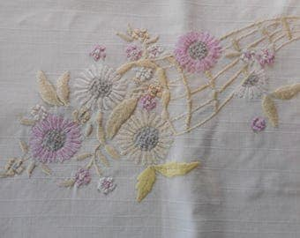 Vintage Linen Table Runner with Tatted Edge