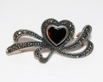 Vintage Sterling Silver 925 Marcasite Black Enamel Heart Brooch Pin
