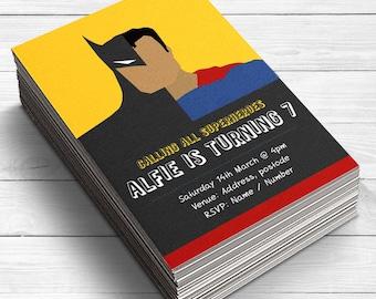 Batman vs Superman Invitations, Batman and Superman Invites, Superhero invitations, Superhero Battle Invites, Birthday invitations