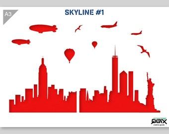 New York Skyline Stencil A3 42 x 29,7 cm // 16,5 x 11,7 inch