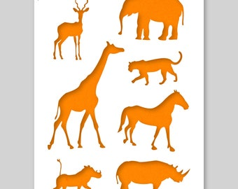 African Animals Silhouet Stencil A3 42 x 29,7 cm // 16,5 x 11,7 inch