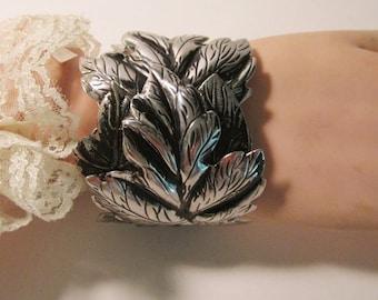 Silvertone and Black Metal 8  1/2 Inch Cuff Bracelet     (#520)