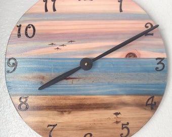 Beach/Ocean Wall Clock - Wood burned, multi stain color