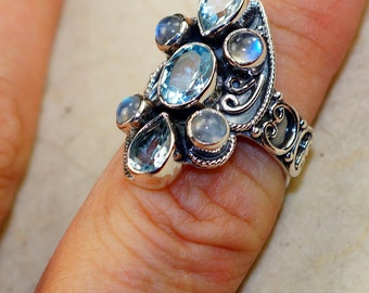 Genuine Blue Topaz with Labradorite & 925 Sterling Silver Ring size 7