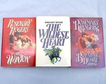 Rosemary Rogers Vintage Set of Three Hardcover Romance Novels