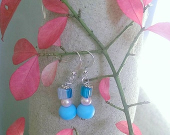 Baby Blue and Pink Pearl Earrings