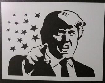 Donald Trump President Pointing Custom Stencil FAST FREE SHIPPING