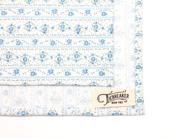 White and Blue Floral Pocket Square - Hand-Rolled Pocket Square - Mens Flower Handkerchief - Womens Vintage Pocket Square