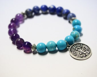 Sagittarius Bracelet with Amethyst, Sodalite & Turquoise Gemstones/Astrology Jewelry for Star Signs/Horoscope Bracelet