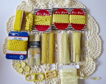 Vintage sewing pack lemon yellow tones, ric rac, bias binding, seam binding lace, ribbon, buttons, buckles, destash
