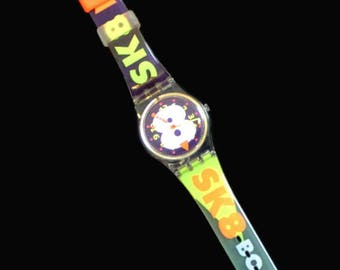 1990's Swatch Watch, Snow Collage