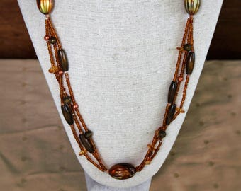 Multi Strand Orange and Brown Bead Necklace, Autumn Jewelry