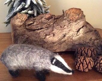 Needle felted Badger Sculpture