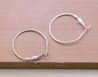 earring hoops finding,50pcs (25 pairs) silver plated earring hoops wholesale.large round earring hoop for craft,30mm earring accessories.e