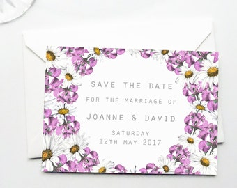 Pink Daisy and Hydrangea Floral Save The Date Postcards with Envelopes - Personalised Wedding Save The Date Design - Printable Template