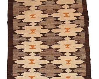 ON SALE 20% Off 3.1' x 4.10' ( 94cm x 152cm) hand made antique American-Indian Navajo rug 1880