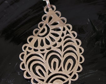 Sterling silver necklace, Paisely openwork  design,  Contemporary, Gift for her