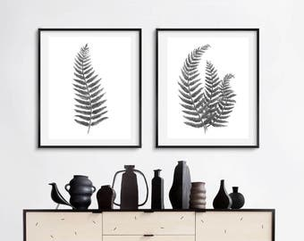 Watercolor print, printable watercolor botanical print, set of two fern prints, black and white home decor, watercolor botanical fern print