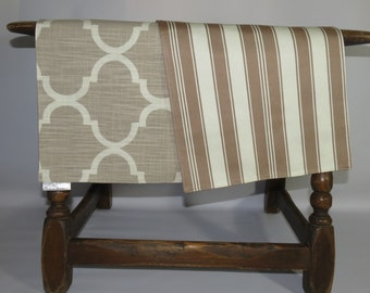 Quatrefoil Tan/stripes Table Runner Set, Tan Table Runners, Table Runners  That Match