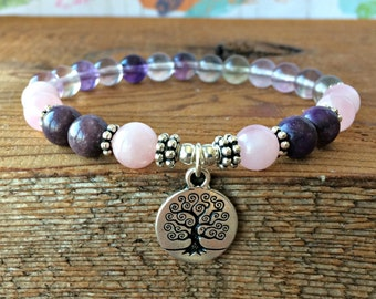 Stress & Anxiety Relief Gemstone Bracelet, Anxiety Bracelet, Anxiety Jewelry, Healing Crystals, Wonderful for Stress Relief + Anxiety