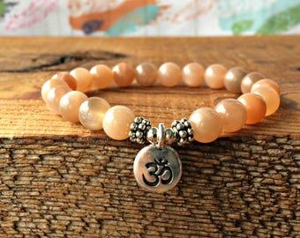 A Grade Sunstone Bracelet, Sunstone Jewelry, Positive Energy, Creativity, Adventure, Sexuality, Chakra & Meditation Bracelet, Happiness