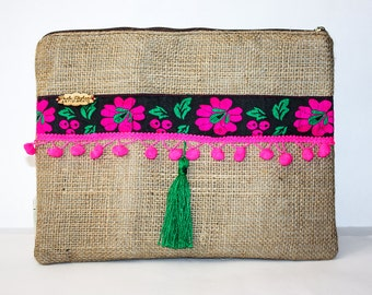 Burlap Clutch with Fuchsia - Boho - Floral Clutch - Casual Clutch - Handmade - Zipper Pouch - Jute Clutch - Vintage