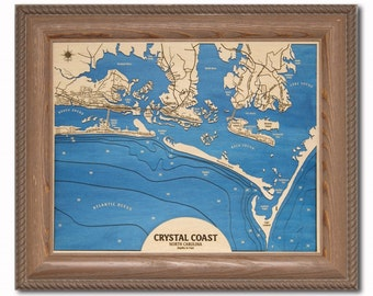 Crystal Coast NC Dimensional Wood Carved Depth Contour Map - Customize With Your Home Information