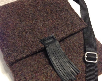 Small felted wool crossbody bag with fringe leather accent; small purple felted handbag; felted wool purse; eggplant wool bag