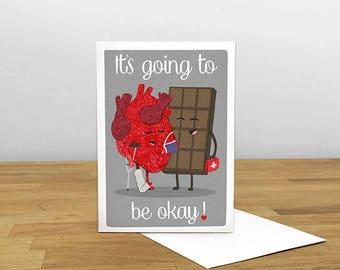 Heart Broken Card, Get Well Card, Heart Card, Heart Break Card, Thinking of You Card, Blank Card,