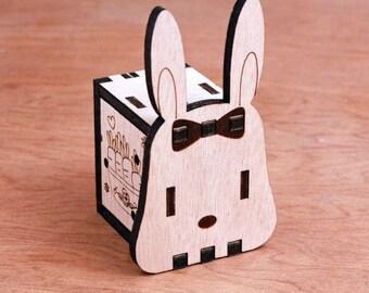 Music Box, Hand Crank Interlocking Wooden Music Box, DIY - Great gift (Rabbit)