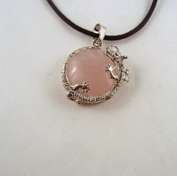 Rose Quartz Dragon round Necklace: Natural Crystal Pendant, Stone Jewelry