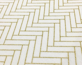 Gold Herringbone Fabric - Premium Apparel Grade Quilt Cotton with Metallic Gold Geo Design on White or Black by the Yard