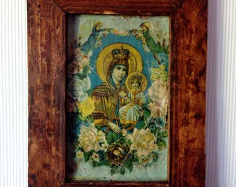 Antique Wooden Tramp Art Picture Frame, Old Russian Icon Picture