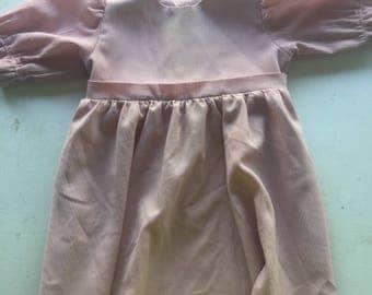 Vintage Homemade Pink Rose Mauve Toddler Girl Amish Dress Fits 2-4yrs old