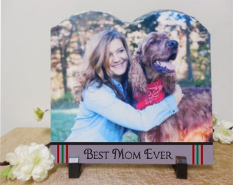Christmas gift for mom, gifts for her, photo slate, best mom, personalized gift for mom, custom picture