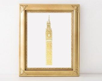 London Big Ben Gold Foil Art Print