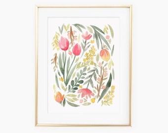 Green Spring Floral Watercolor Art Print