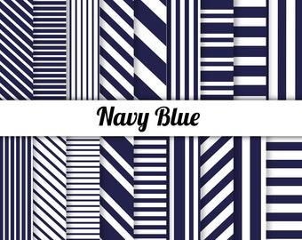 50% OFF Navy Digital Paper - Navy Blue Stripes