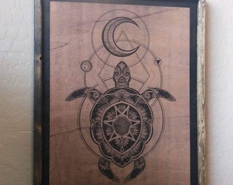 Highly Detailed Wooden Sea Turtle Engraving 16x20